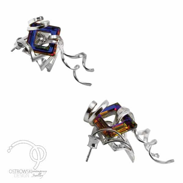 boucles d'oreilles extraordinaires de Ostrowski Design en argent et Swarovski