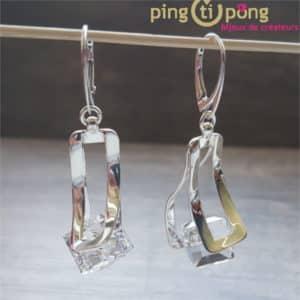 Bijoux originaux : Boucles TWIST en argent et cristal de Swarovski de OSTROWSKI Design