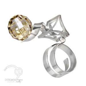 Bague originale collection CRAZY en argent et Swarovski de Ostrowski Design