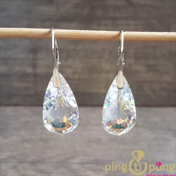 Bijoux originaux : Boucles larmes en argent 925 rhodié et cristaux de Swarovski aurore de SPARK