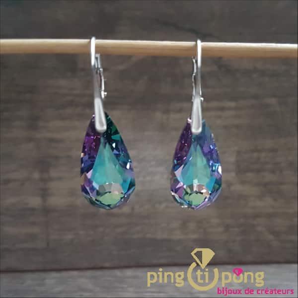 """Bijoux argent rhodié : Boucles """"Larmes"""" violettes en cristal de Swarovski de SPARK"""