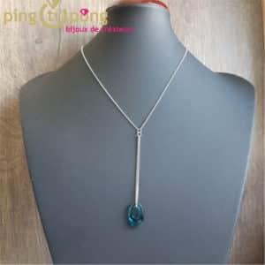 Bijou original : Collier en argent rhodié et cristal de Swarovski ellipse bleu de SPARK