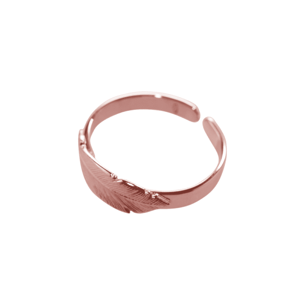 silver plated pink gold feather ring of L'avare