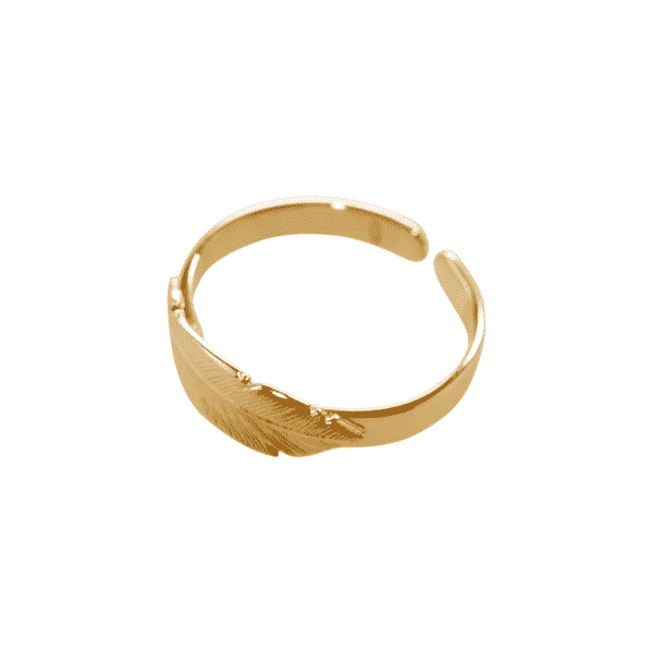 vermeil feather ring: silver plated gold of L'avare