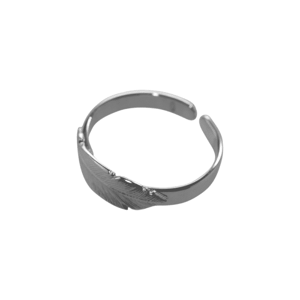 ruthenium-plated silver black feather ring of L'avare