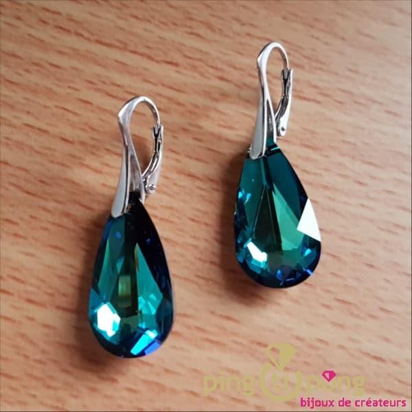 Boucles larmes turquoises SPARK