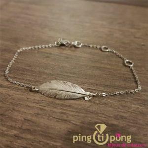 Bracelet plume en argent rhodié
