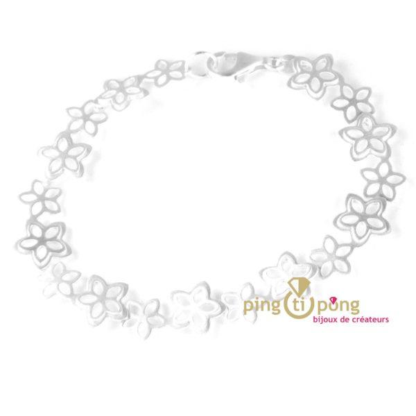 Bracelet motif fleurs en argent brossé de Kelim Design 2300