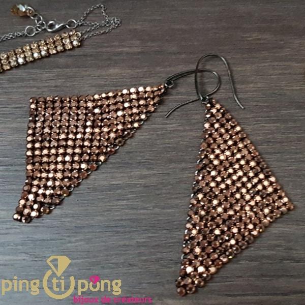 Bijoux en Swarovski : Boucles drap or rose de SPARK