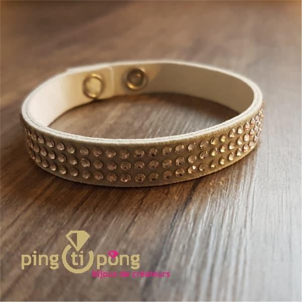 Bracelet alcantara 3 rows white SPARK