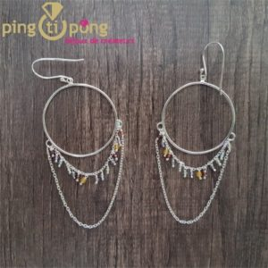 Boucles créoles avec perle en pierres CANYON naturelles