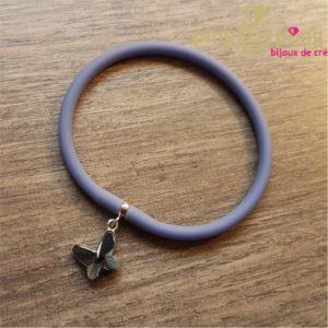 Bracelet silicone papillon bleu SPARK