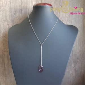 Bijou original : Collier chainette en argent rhodié et cristal de Swarovski ellipse rose de SPARK