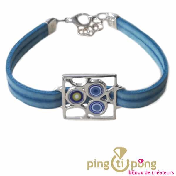 Blue leather bracelet PASTACUITA