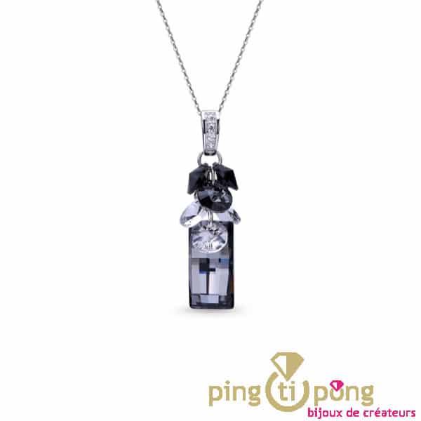 Collier chaînette argent et bouquet de cristaux de SPARK