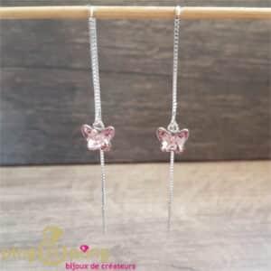 Bijoux originaux : Boucles longues papillon rose de SPARK