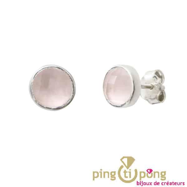 Boucles puces argent et quartz rose