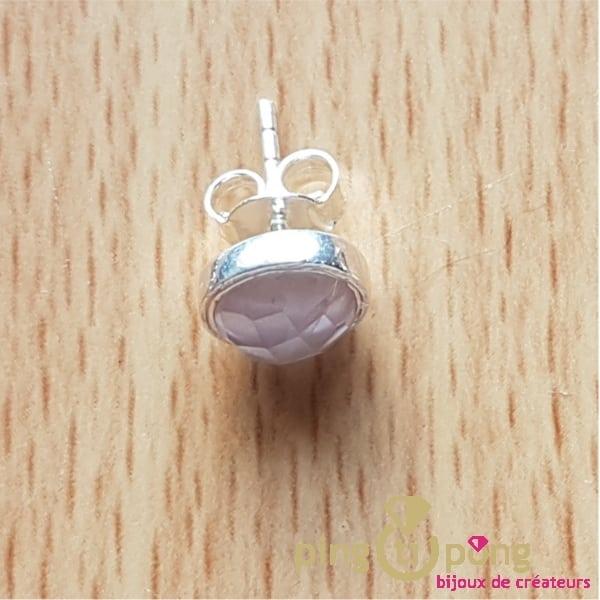 Boucles puces en quartz rose