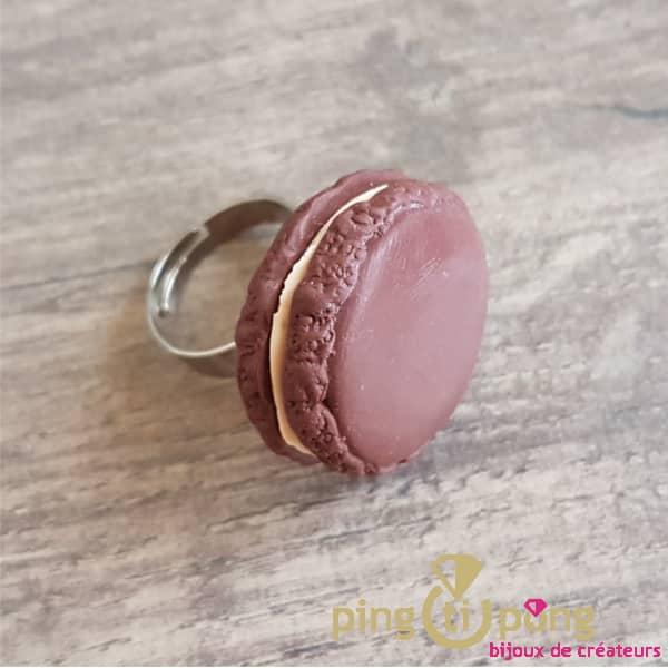Bijou gourmand : Bague macaron chocolat fimo Pingtipong