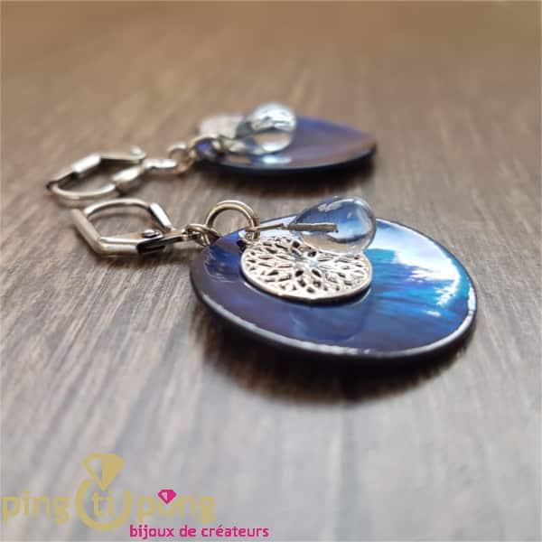 Bijoux en nacre : Boucles nacre bleu LA PETITE SARDINE