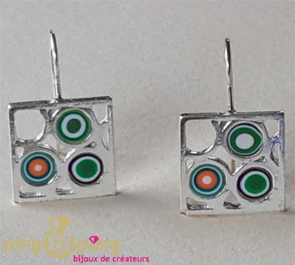 Silver Pastacuita Earrings green