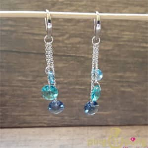 Bijoux originaux : Boucles en argent et cristaux bleus de SPARK