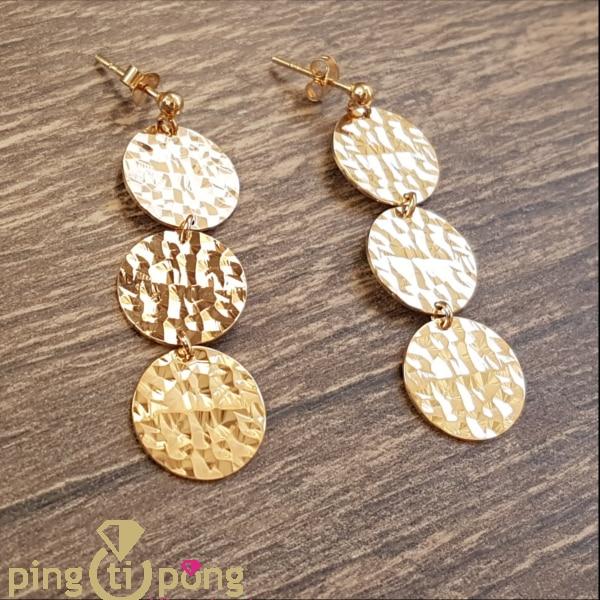 Vermilion Jewelry : 3 lozenges earrings in vermilion OLIVIER LAFOND