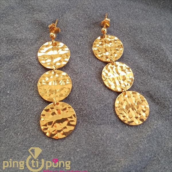 Handmade jewellery : Yellow gold gilt earrings by OLIVIER LAFOND