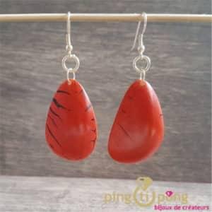 Bijoux originaux : Boucles en noix de tagua orange brillant de GREENAGE
