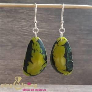 Bijoux nature : Boucles en noix de tagua brillante vert GREENAGE
