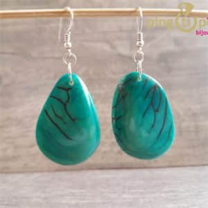 Boucles tagua turquoise GREEN-AGE