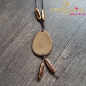 Bijou nature : Collier médaille tagua beige GREENAGE