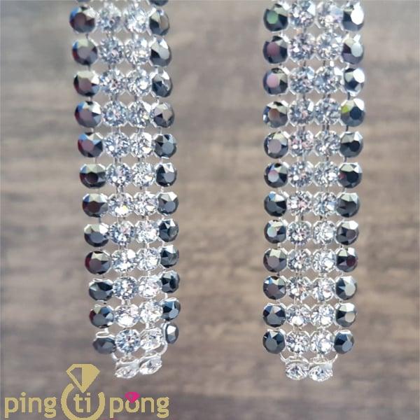 Bijoux en swarovski : Boucles argent strass noir et blanc de SPARK