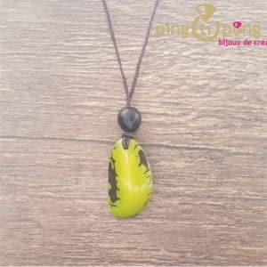 Bijou original : collier en noix de tagua verte 100% végétal GREENAGE