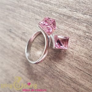 Silver jewellery : Pink Swarovski® rings from SPARK