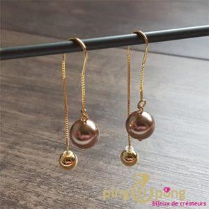 Bijoux originaux : Boucles en or et cristaux de Swarovski® bronze de SPARK
