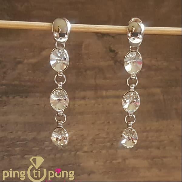 Bijoux originaux : Boucles en argent rhodié et cascade de Swarovski® de SPARK