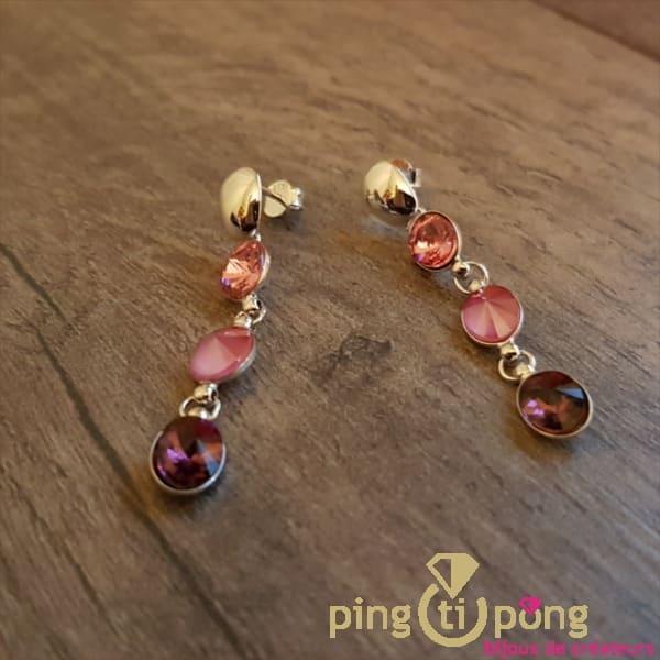Bijoux originaux : Boucles cascade en cristaux de Swarovski® rose de SPARK