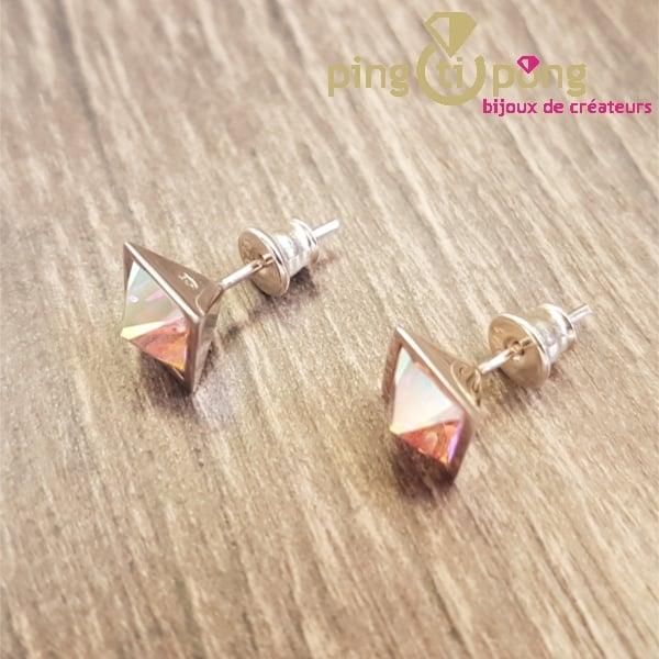 Bijoux en Swarovski : Boucles IDEAL pyramidales en argent et cristaux de Swarovski de OSTROWSKI Design