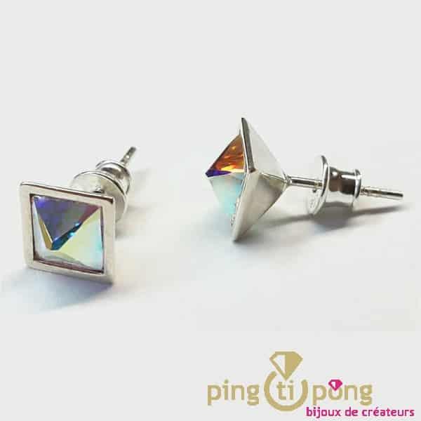 Bijoux originaux : Boucles Ideal en argent et cristal de Swarovski de OSTROWSKI Design