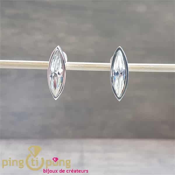 Bijoux originaux : Boucles marquise Ostrowski Design en argent 925 et cristaux de Swarovski blancs