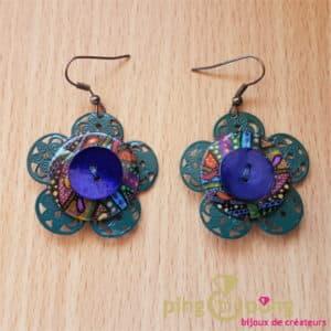 Bijoux fantaisie : boucles en nacre, métal et résine de Pingtipong