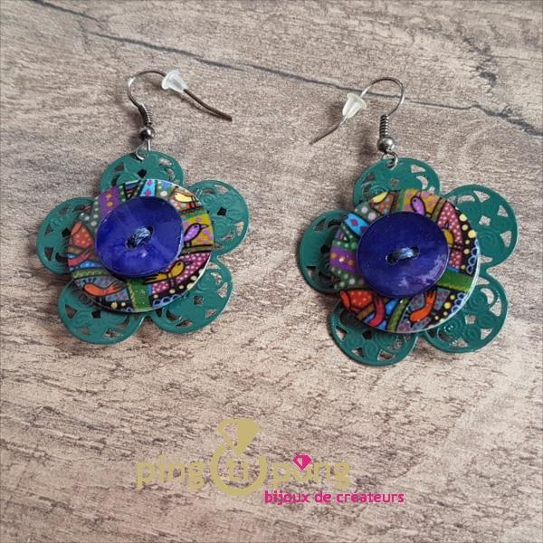 Bijoux fantaisie : boucles pendantes fleur de Pingtipong