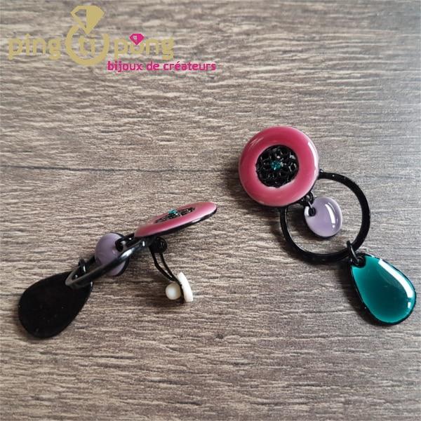 Bijoux fantaisie : boucles pinces en émail de Pingtipong