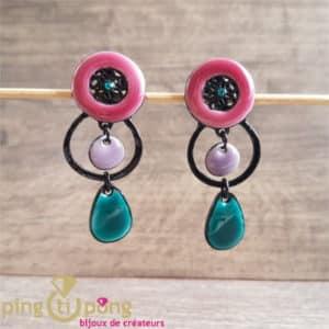 Bijoux originaux : Boucles à clips émail rose PINGTIPONG