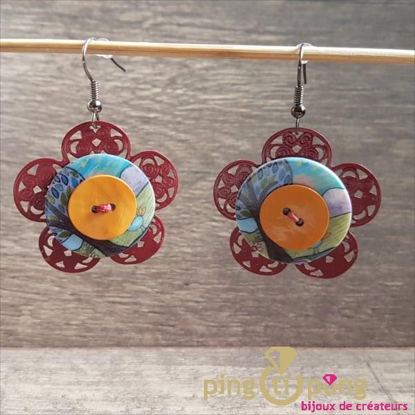 Bijoux fantaisie : Boucles Fleur rouge en métal et résine de Pingtipong