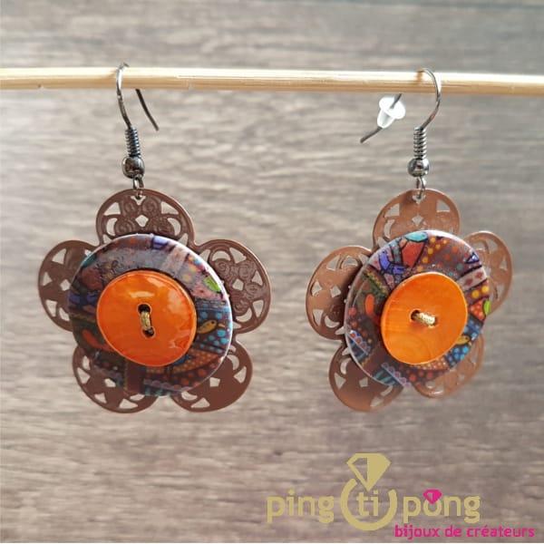 Boucles fantaisie fleur orange de Pingtipong