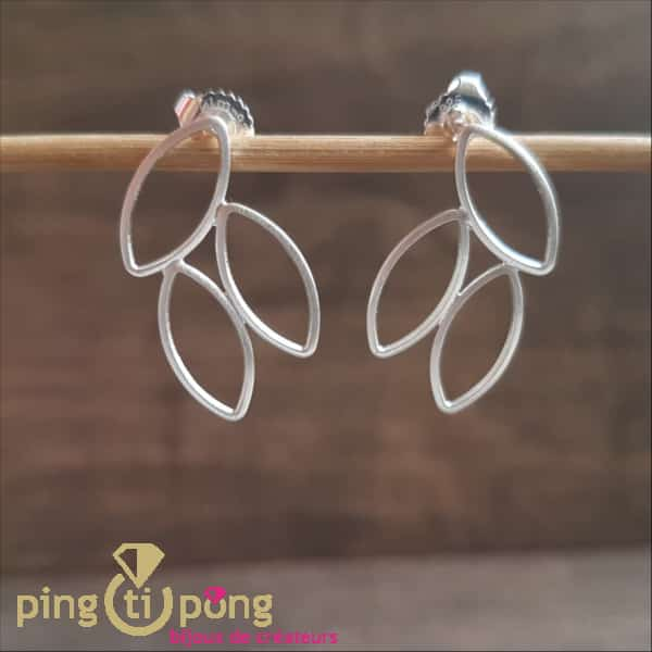 "Silver jewellery : Brushed silver ""Claustra"" earrings by KELIM Design"