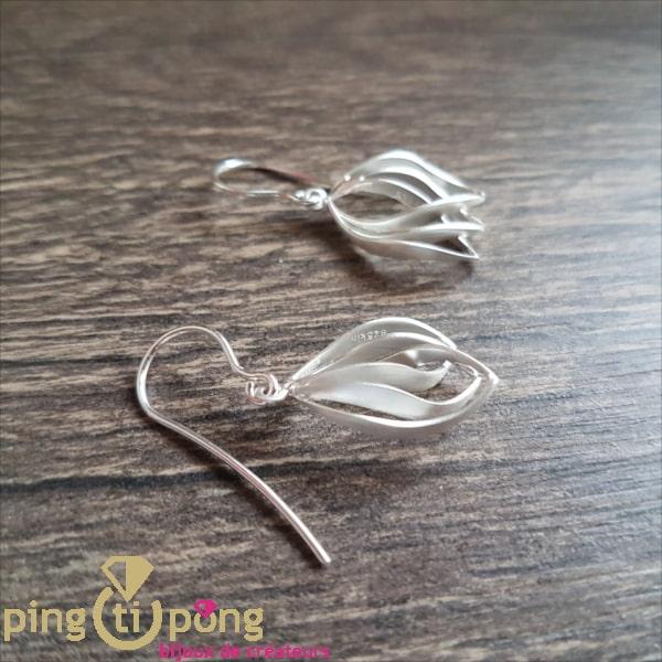 Designer jewelry: brushed silver crocus earrings by Kelim Design