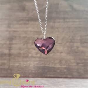 Original jewel: purple heart necklace made of Swarovski crystal from SPARK